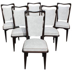Set of Six French Art Deco Solid Macassar Ebony Dining Chairs, circa 1940