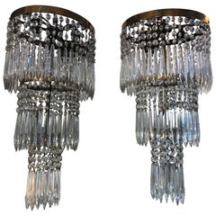 Pair of Early 20th Century Articulated Crystal Wall Sconces