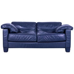 De Sede DS 17 Leather Sofa Blue Two-Seat Couch