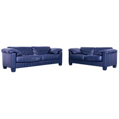 De Sede DS 17 Leather Sofa Set Blue Three-Seat Two-Seat