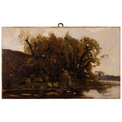 Dutch Signed Impressionist Landscape Painting Oil on Canvas from 20th Century