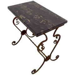 Spanish Style Gothic Revival Marble Top Stand