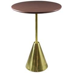 Stone-R Contemporary Handcrafted Brass Side Table, Flow Collection