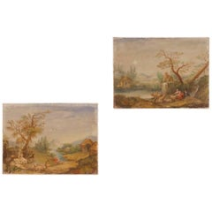 Pair of Italian Landscape Paintings Tempera on Canvas from 20th Century
