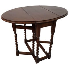 19th Century English Oak Small Size Gate Leg Table