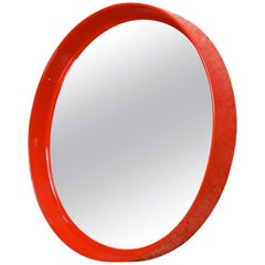 Red Circular Mirror by Pierre Guariche for Meurop, 1970s, Belgium