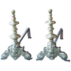 17th Century French Louis XIV Andirons or Firedogs