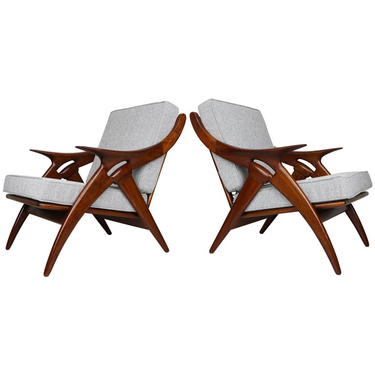 Set of Two ''De Knoop'' Teak Lounge Chairs by De Ster Gelderland, 1960 Dutch