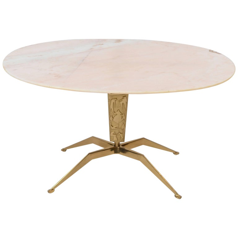 1950s Italian Onyx Coffee Table with Decorative Brass Support