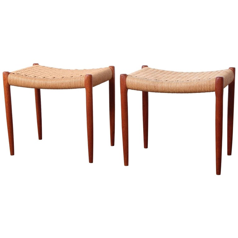 Pair of Stools by Niels O. Møller For Sale
