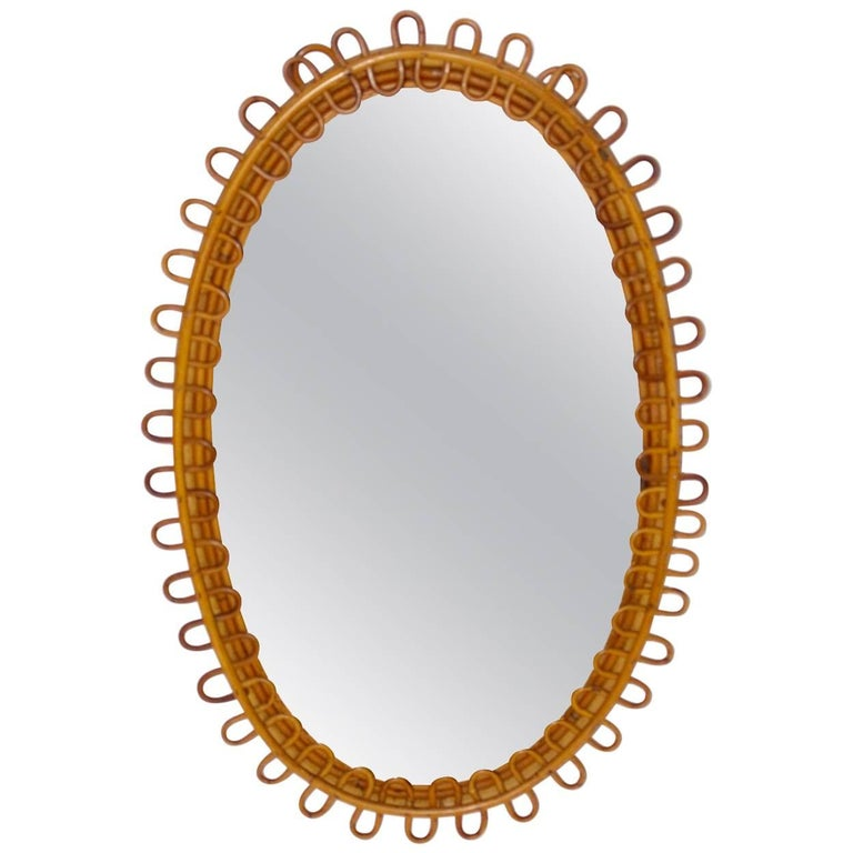 Rattan Mirror Riviera Style France, 1950s For Sale