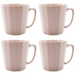 Monday Mug Pink Matte Set of Four Coffee Mug Contemporary Glazed Porcelain