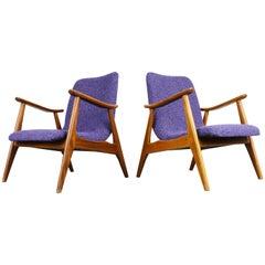 Set of Two Teak Lounge Chairs by Louis Van Teeffelen for Webe 1960 Brown Purple