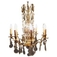 French Eight-Light Silver Colored Chandelier, Early 20th Century