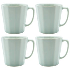 Monday Mug Blue Matte Set of Four Coffee Mug Contemporary Glazed Porcelain