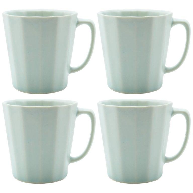 Monday Mug Blue Matte Set of Four Coffee Mug Contemporary Glazed Porcelain