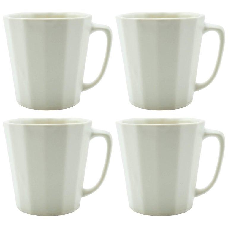 Monday Mug White Matte Set of Four Coffee Mug Contemporary Glazed Porcelain