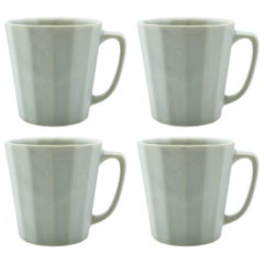Monday Mug Grey Matte Set of Four Coffee Mug Contemporary Glazed Porcelain