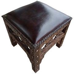 Handmade Moroccan Cedar Wood Stool, Leather Cushion