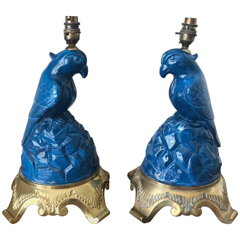Pair of Parrot Lamps, circa 1930s