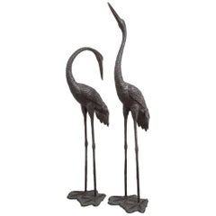 Magnificent Pair of Italian Bronze Cranes, circa 1970s