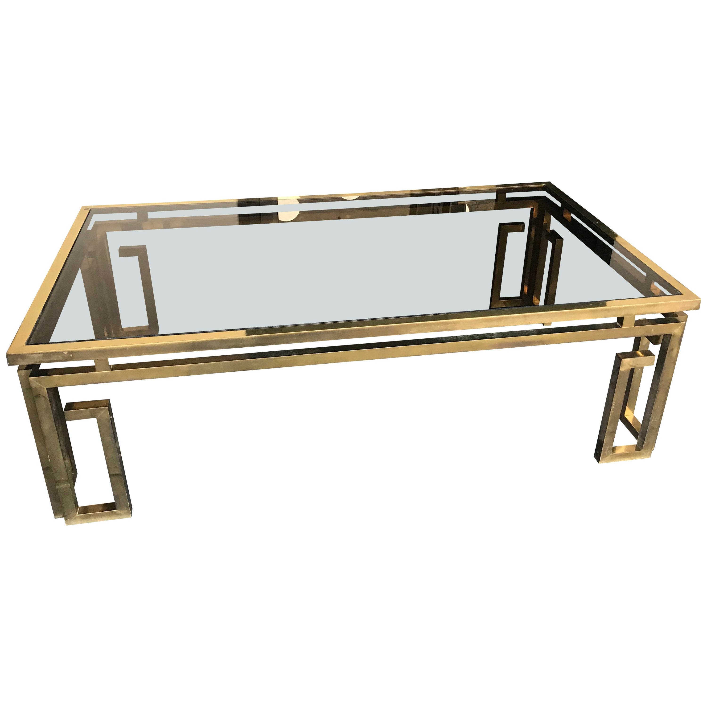 Italian Brass Coffee Table with Smoked Glass Top