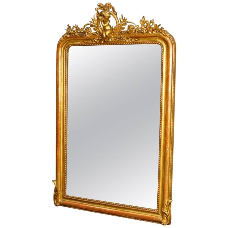 French Mirror in Giltwood and Plaster with Little Angel from 19th Century