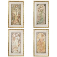 """Four Seasons"" Lithographs on Silk by Alphonse Mucha"