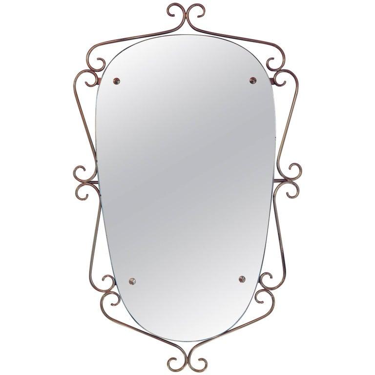 Italian 1940s Brass Mirror