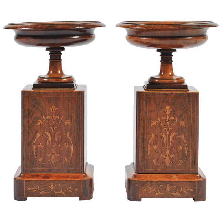 Pair of 19th Century Rosewood, Walnut and Boxwood Marquetry Tazza