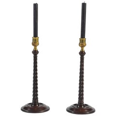 Pair of Georgian Turned Mahogany Candlesticks with Brass Sconces