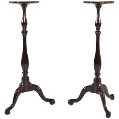 Pair of Mahogany Dutch Torcheres with Tripod Base, Cabriole Legs, 18th Century
