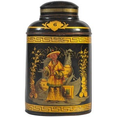 Late 19th Century Japanned Tea Canister, Decorated Black, Gold, Red, Green, Grey