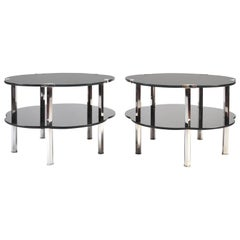 "Pair of Black Glass and Silver 1930s French Japonaise ""Cloud"" Tables"