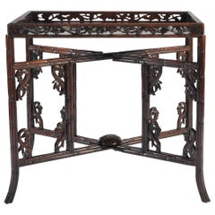 Mid-19th Century Carved Chinese Export Tray Table on Folding Stand of Huanghuali