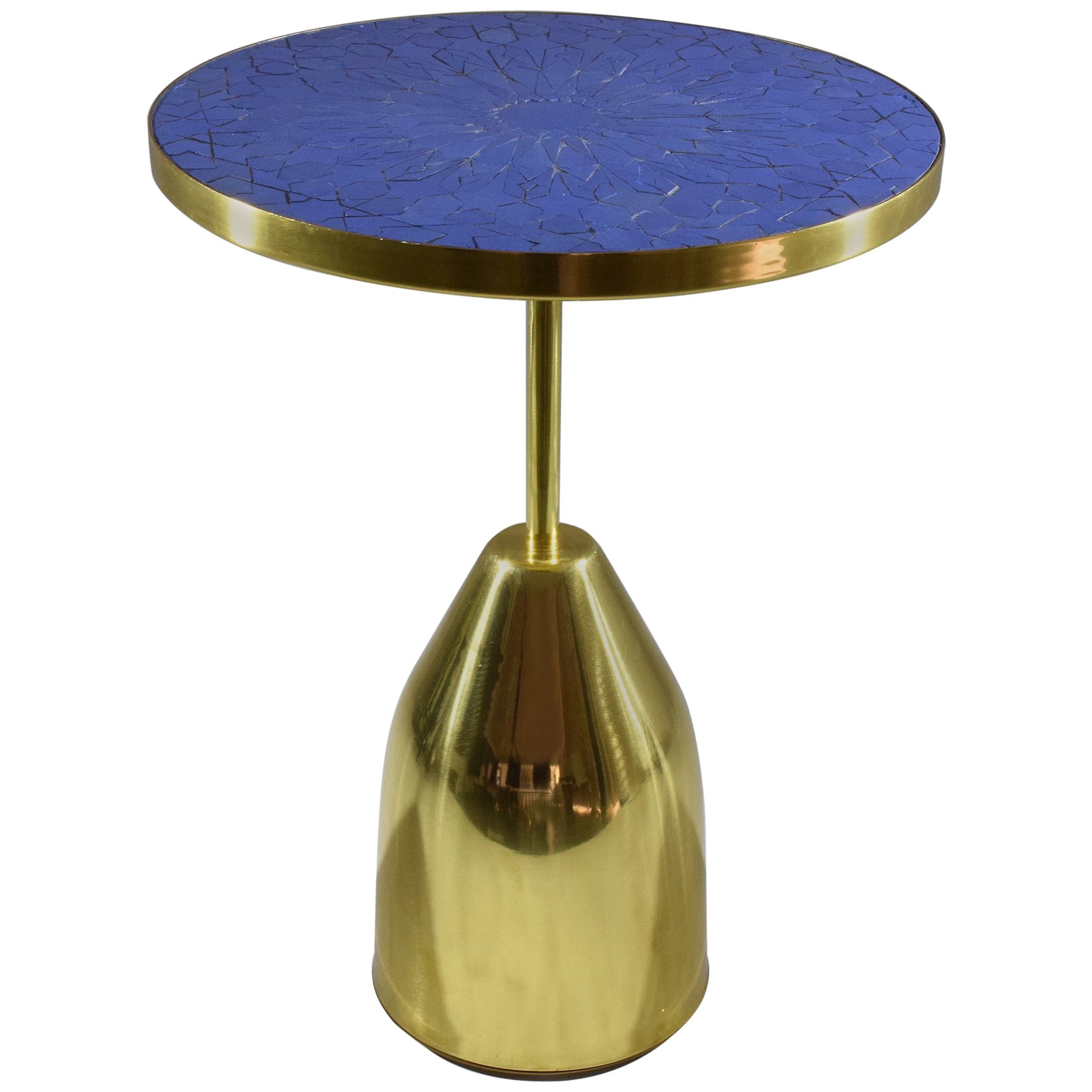 Z-I-III Contemporary Brass Mosaic Side Table, Flow Collection