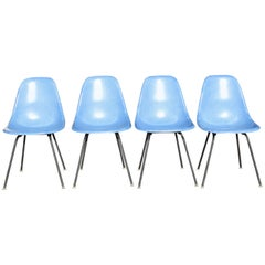 Set of Four Eames Blue Fiberglass Side Chairs