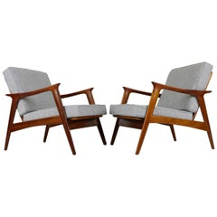 Set of Two Norwegian Midcentury Design Lounge Chairs by Fredrik Kayser, 1950