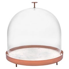New Moon Large Glass Bell with Copper and Marble Tray by Elisa Ossino
