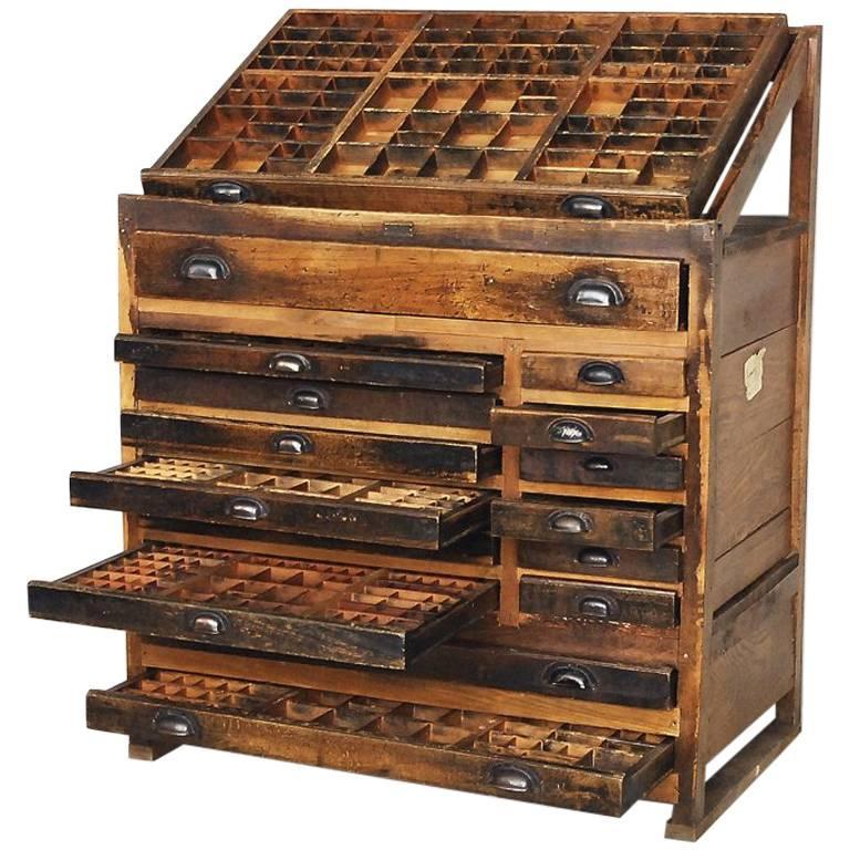 Vintage Industrial Printer's Cabinet from Wilhelm Köhler, 1907