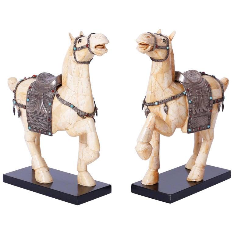 Pair of Midcentury Chinese Bone Horses