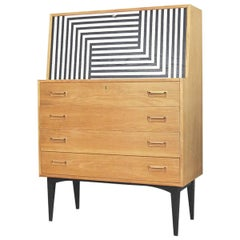 Danish Secretaire with Labyrinth Pattern by Arne Wahl Iversen for Vinde, 1960s