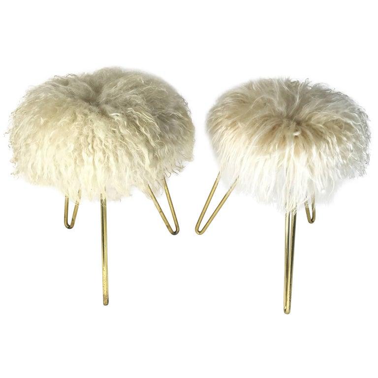 Mid-Century Hairpin Legs Lambswool Fur Stool, 1950s, France
