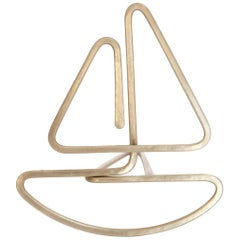 Small Sailboat by Rodger Stevens, Kinetic Sculpture in Brass, 2018