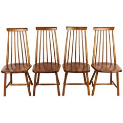 Set of Four High Spindle Back Chairs by Pastoe in Solid Wood Dutch Design 1960s