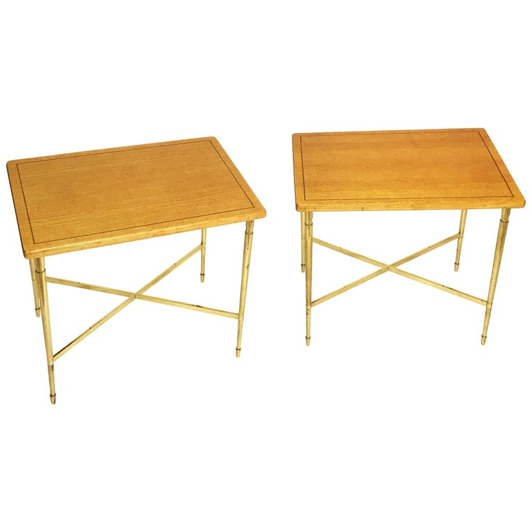 Art Deco Maison Jansen Style Solid Brass Side or End Tables, 1930s, France