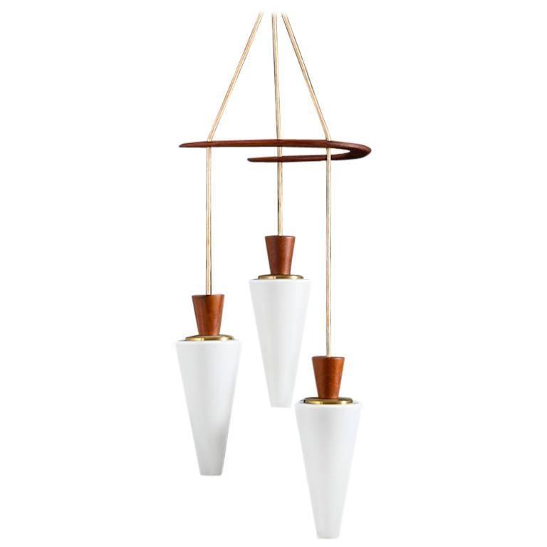 Midcentury Danish Boomerang-Hanging Lamp in Teak and Glass