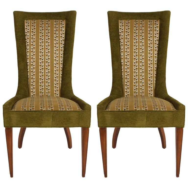 Pair of High Back Hollywood Regency MCM Dining Chairs