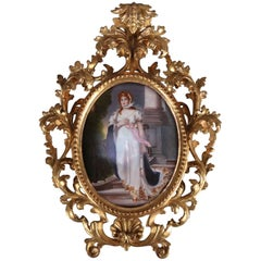 Large Antique KPM School Porcelain Portrait Plaque of Queen Louise, circa 1890