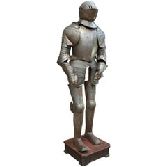 Metal Decorative Armor 1950s on His Wood Base